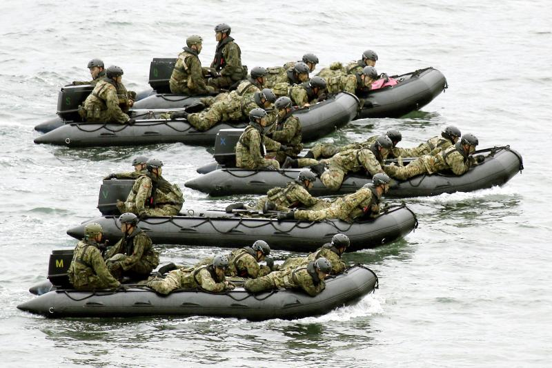 Japan Self-Defense Forces soldiers drilling in Kagoshima Prefecture, May 2014.