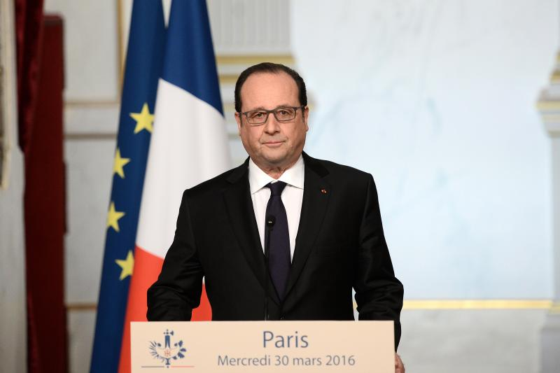 French President Francois Hollande delivers a speech on constitutional reform and the fight against terrorism at the Elysee Palace in Paris, France, March 2016.