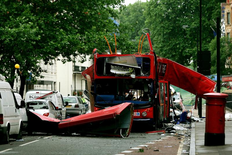 The number 30 double-decker bus after the 7/7 attacks in Tavistock Square in central London, July 8, 2005.