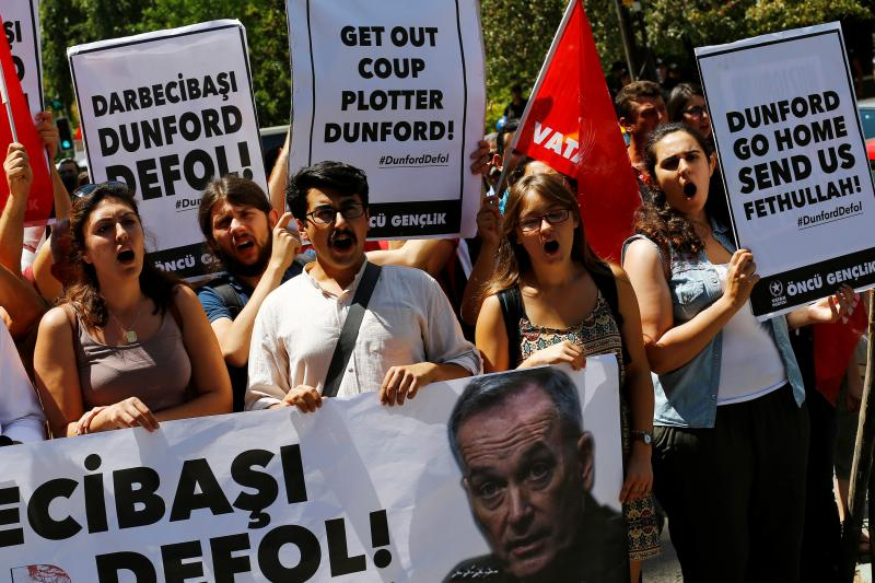 Members of Patriotic Party shout slogans as they demonstrate against the visit of U.S. Chairman of the Joint Chiefs of Staff General Joseph F. Dunford in front of the U.S. Embassy in Ankara, Turkey, August 1, 2016.
