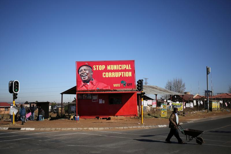 An Economic Freedom Fighters billboard in Soweto, South Africa, August 2016.