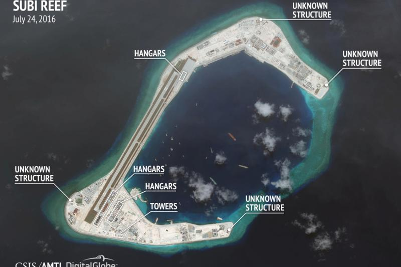 Construction are seen on Subi Reef in the Spratly islands, in the disputed South China Sea in this July 24, 2016 satellite image released by the Asian Maritime Transparency Initiative at Center for Strategic and International Studies (CSIS) to Reuters on