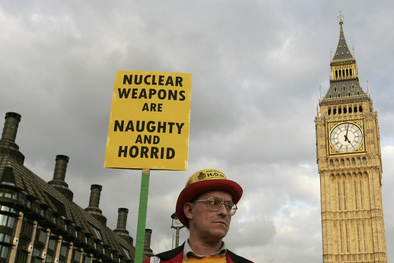 An anti-nuclear demonstrator protests in Parliament Square in London March 14, 2007.
