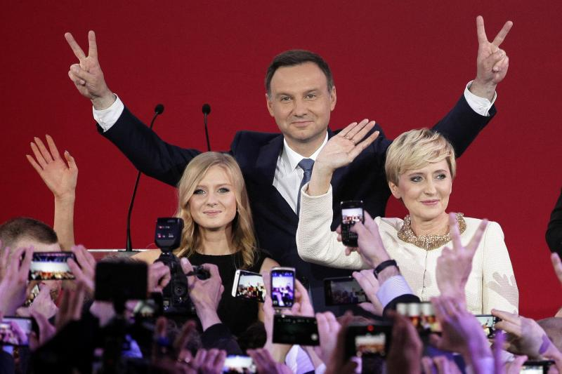 Andrzej Duda celebrates victory in the Polish presidential election, May 2015.