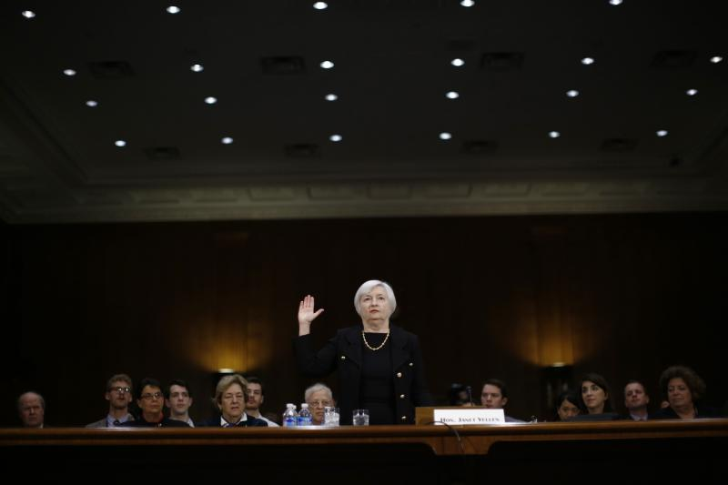 Janet Yellen is sworn in to testify at her U.S. Senate Banking Committee confirmation hearing in Washington, November 14, 2013.