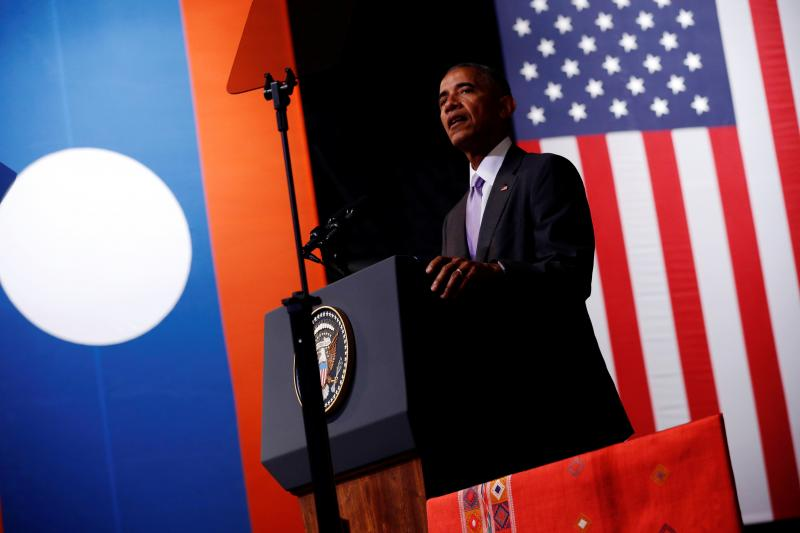 U.S. President Barack Obama delivers an address at the Lao National Cultural Hall, on the sidelines of the ASEAN Summit, in Vientiane, Laos September 6, 2016.
