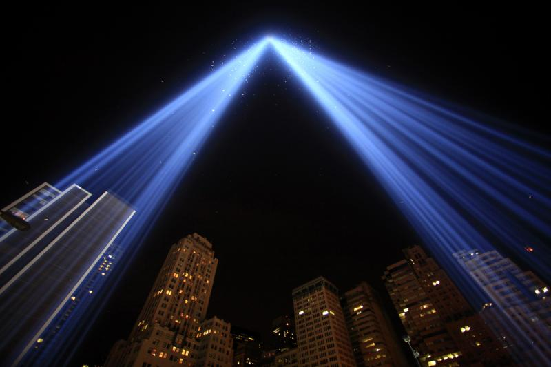 """The """"Tribute in Lights"""" illuminates the sky over lower Manhattan on the ninth anniversary of the attack on the World Trade Center in New York, September 11, 2010."""