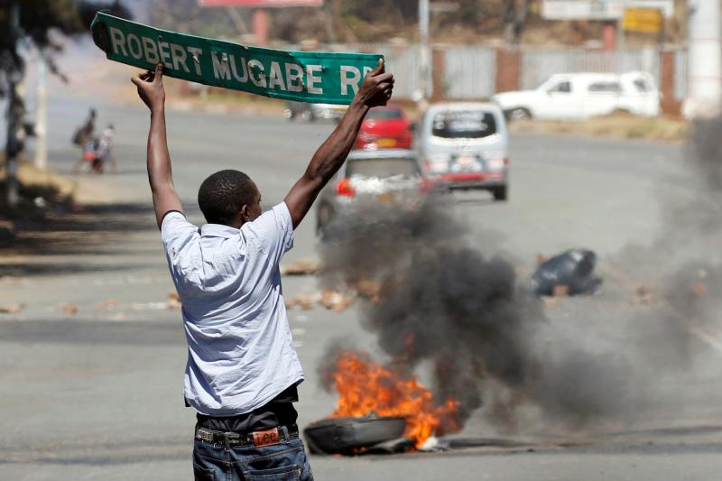 Near a clash between opposition party supporters and police in Harare, August 2016.