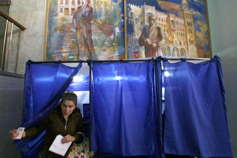 At a polling station in Tbilisi, May 2008.