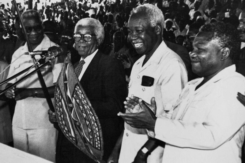Former Tanzanian President Julius Nyerere (second from right) at a rally in Dodoma, January 1990.