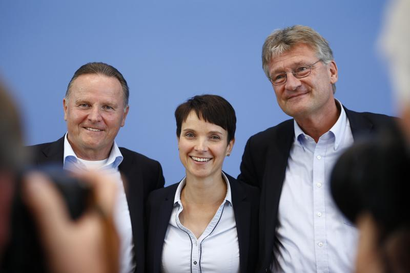 AfD candidate Georg Pazderski and AfD co-leaders Frauke Petry and Joerg Meuthen in Berlin, September 2016.