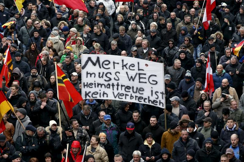 A far-right rally against German immigration policy in Berlin, March 2016.