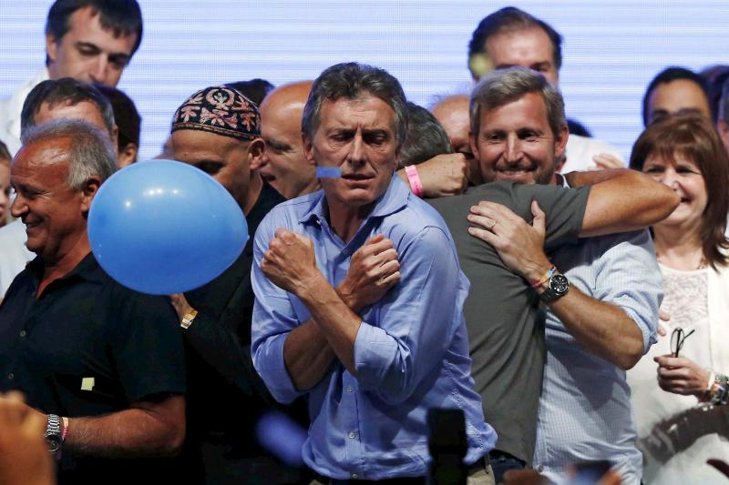 Mauricio Macri celebrates winning the presidential election in Buenos Aires, November 2016.