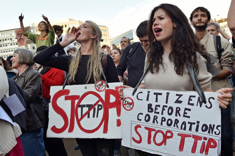 A demonstration against TTIP and CETA in Brussels, September 2016.