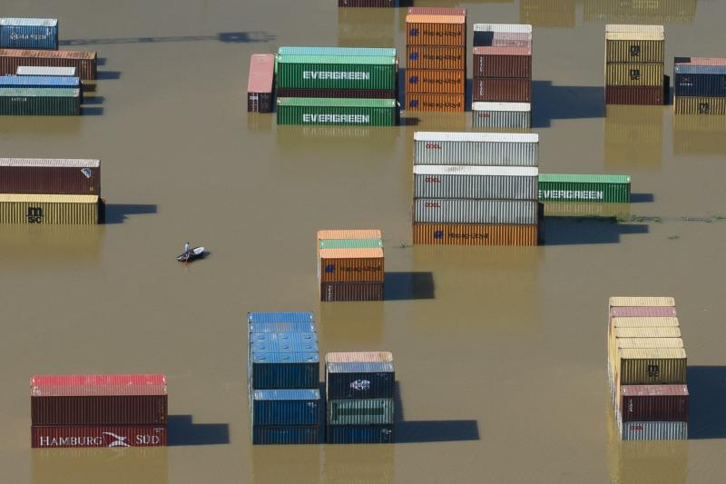 Shipping containers during a flood in Riesa, Germany, June 2013.