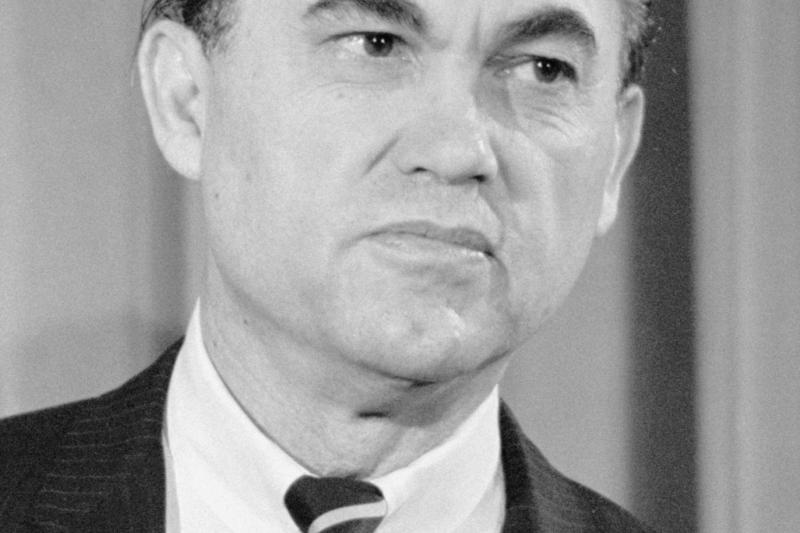 George Wallace, ex-governor of Alabama, at a news conference, 1968.