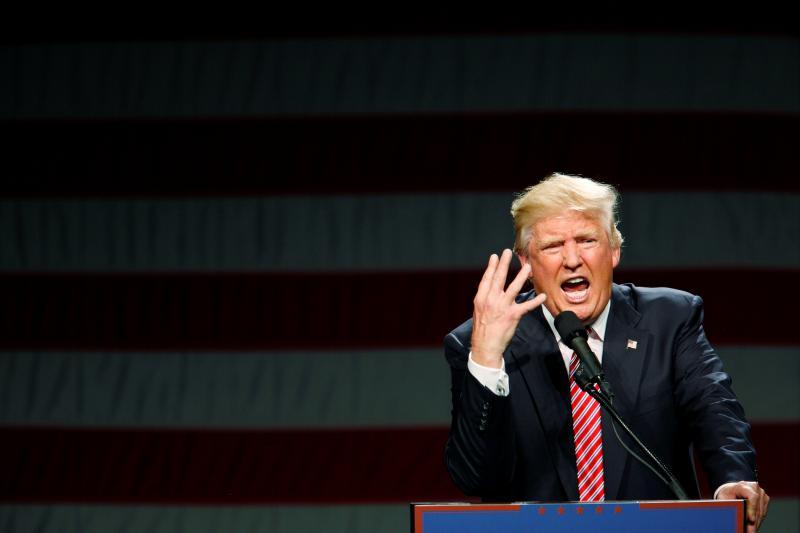 Republican presidential candidate Donald Trump speaks at a campaign rally in Greensboro, North Carolina, June, 2016.