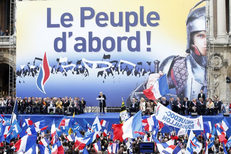 Marine Le Pen, leader of the National Front, speaks at a rally in Paris, May 2013.