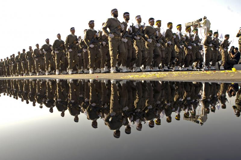 Iran's Revolutionary Guard parades to commemorate the Iran-Iraq war, September 2007.