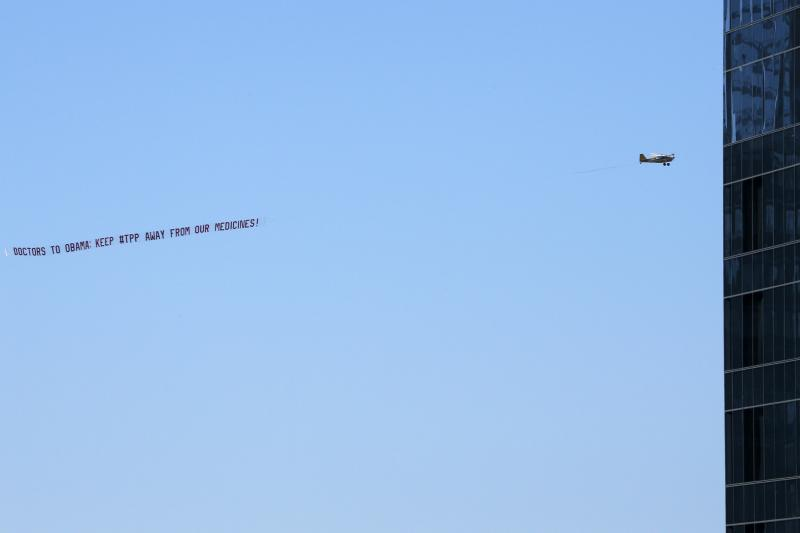 An aerial banner sponsored by Doctors Without Borders, New York, January 2015.