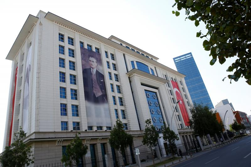 A portrait of Ataturk hangs from the AKP's headquarters in Ankara, August 2016.