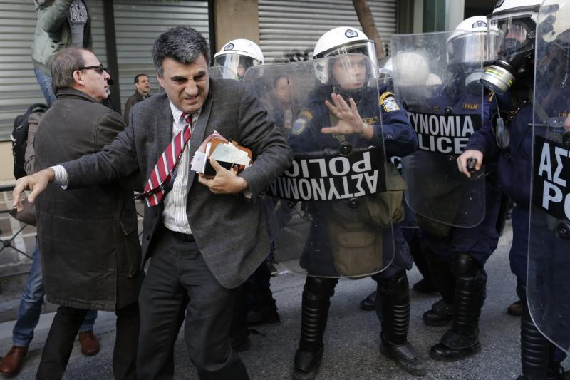 A clash outside the Labor Ministry in Athens, Greece, January 2013.