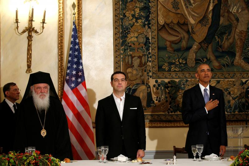 U.S. President Barack Obama and Greek Prime Minister Alexis Tsipras at a state dinner in Athens, November 2016.