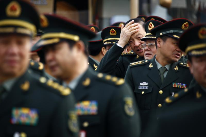 Members of the People's Liberation Army at the Great Hall of the People in Beijing, March 2012.