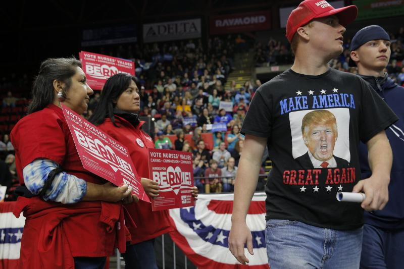 A Trump supporter leaves a rally for Democratic primary candidate Bernie Sanders in New York, April 2016.