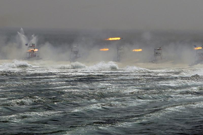 An Iranian naval war game in the Persian Gulf, April 2010.