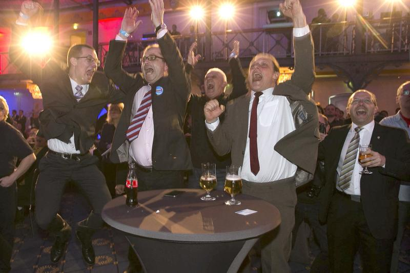 Supporters of the Alternative for Germany (AFD) celebrate on during a state election in Stuttgart, Germany, March 2016.