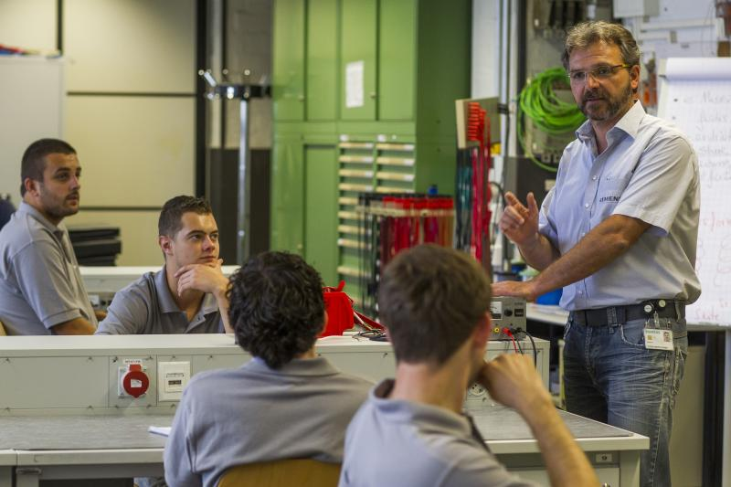 Siemens apprentices during a class in Berlin, August 2012