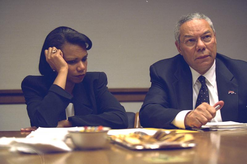 Then-Secretary of State Colin Powell and National Security Advisor Condoleezza Rice in Washington, shortly after the September 11, 2001 attacks, obtained July 2015.