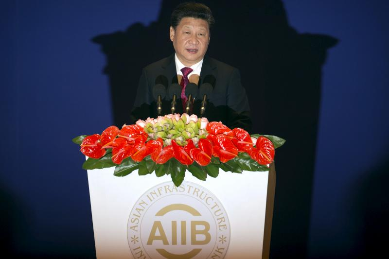 Xi Jinping at the opening ceremony of the AIIB, January 2016