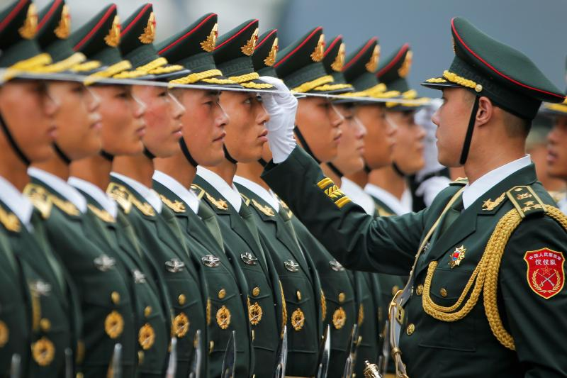 Honor guards at the Great Hall of the People in Beijing, July 2014