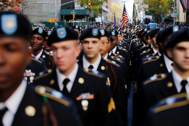 U.S. Army members march in a Veteran's Day parade in New York City, November 2016.