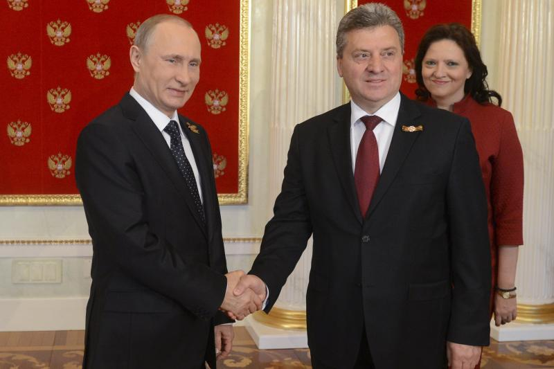 Russian President Vladimir Putin and Macedonian President Gjorge Ivanov in Moscow, May 2015.