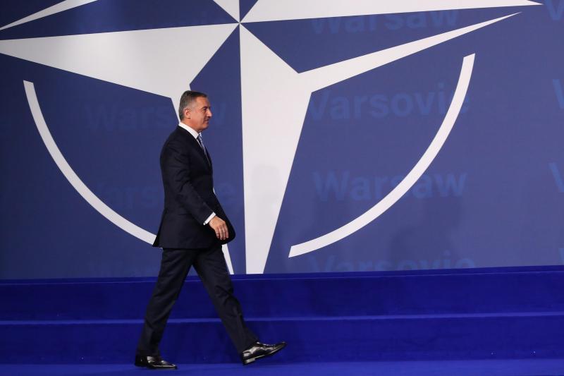 Montenegrin Prime Minister Milo Djukanovic at a NATO Summit in Warsaw, Poland, July 2016.