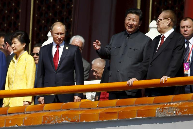 Russian President Vladimir Putin and Chinese President Xi Jinping in Beijing, September 2015.