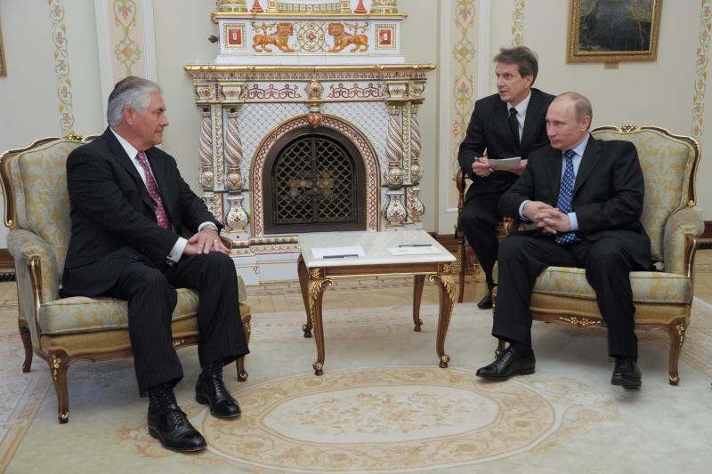 Vladimir Putin, then Russia's prime minister, and Exxon Chief Executive Rex Tillerson at a meeting near Moscow, April 2012.