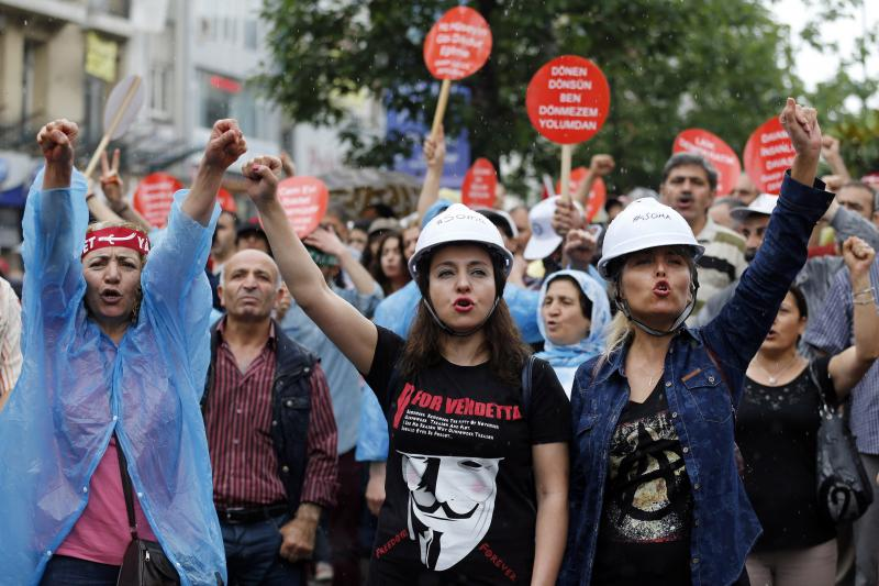 Alevi protestors shout anti-government slogans in Istanbul, May 2014.