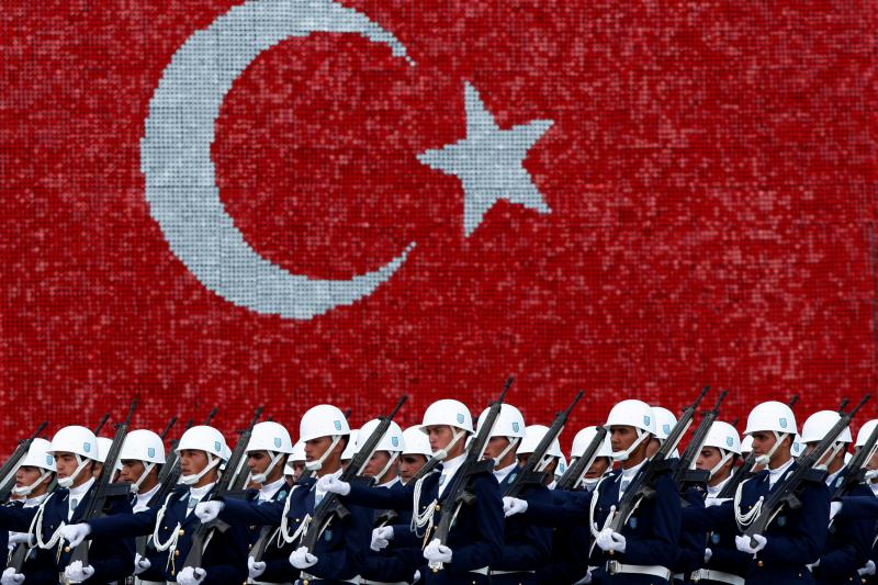 Turkish air force cadets march at a graduation ceremony in Istanbul, August 2009.