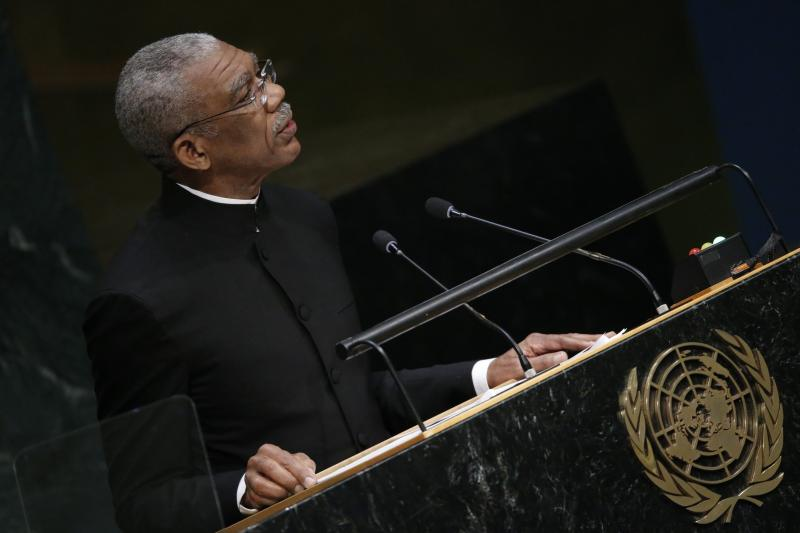 President David Arthur Granger of Guyana addresses attendees during the 70th session of the United Nations General Assembly at the U.N. Headquarters in New York, September 29, 2015.