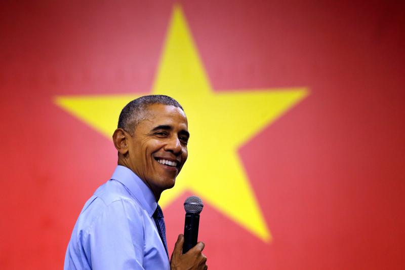 U.S. President Barack Obama smiles as he attends a town hall meeting in Ho Chi Minh City, Vietnam, May 2016.