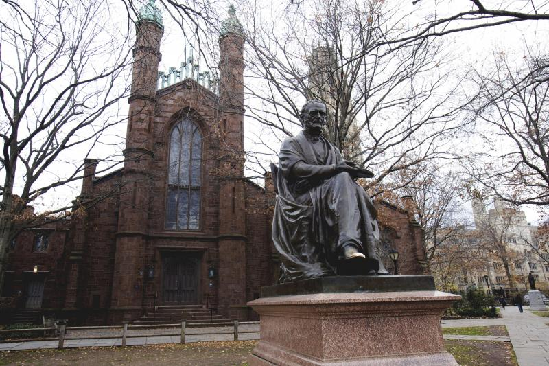 A statue of Theodore Dwight Woolsey, former president of Yale, on Yale's campus in New Haven, Connecticut, November 2012.