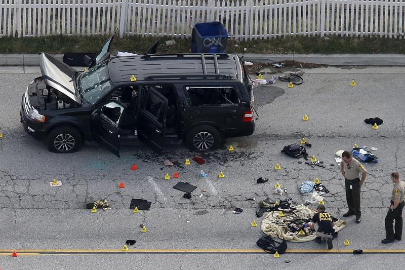 Law enforcement officers inspect the aftermath of the attack in San Bernardino, California, December 2015.