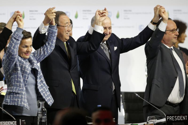 Officials at the final plenary session of the negotiations for the Paris climate agreement, near Paris, France, December 2015.