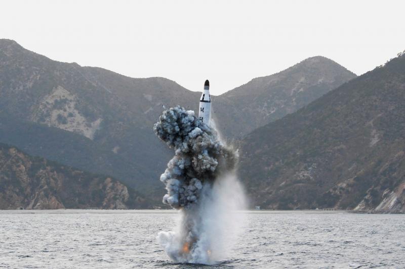 A test of a North Korean strategic submarine ballistic missile, April 2016.