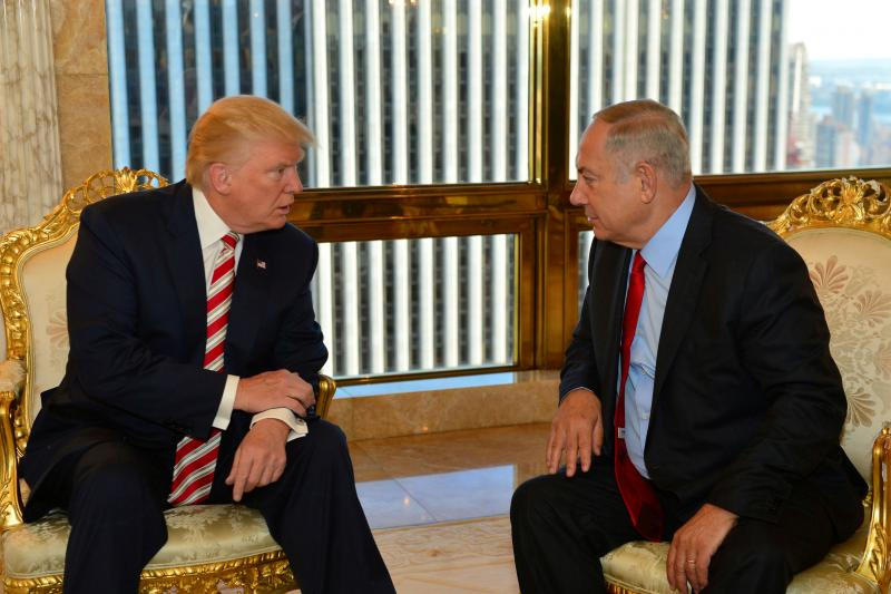 Israeli Prime Minister Benjamin Netanyahu and Donald Trump, then the Republican presidential candidate, in New York, September 2016.