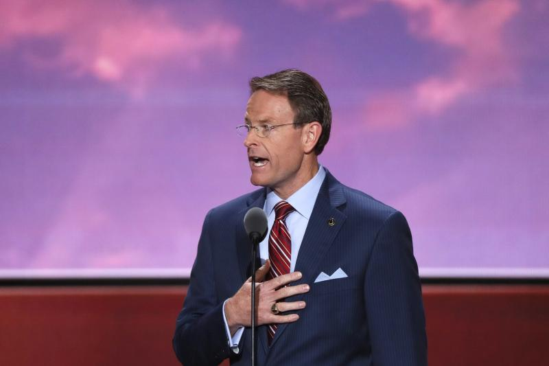 Tony Perkins of the Family Research Council leads the U.S. Pledge of Allegiance at start of the final day of the Republican National Convention in Cleveland, Ohio,  July 2016.